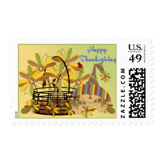Thanksgiving Flower Basket Postage Stamp