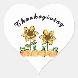 Thanksgiving Flowers Heart Sticker