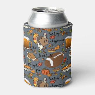 Thanksgiving, Football, Beer, Turkey Design Can Cooler