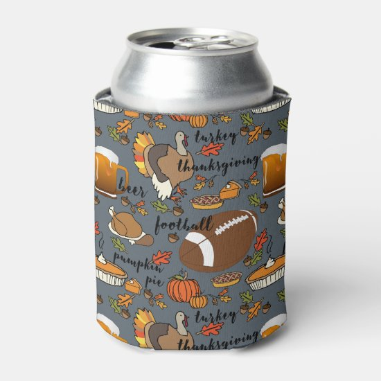 Thanksgiving, Football, Beer, Turkey Design Can Cooler