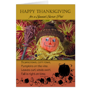 Thanksgiving For A Secret Pal, Cute Scarecrow Card at Zazzle