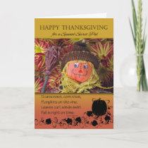 Thanksgiving for a Secret Pal, Cute Scarecrow Holiday Card