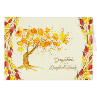 Thanksgiving for Daughter and Family Autumn Tree Card