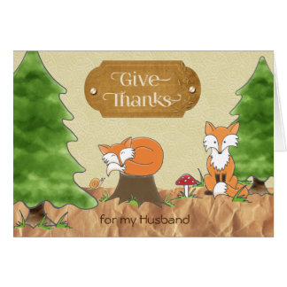 Thanksgiving for Husband Scrapbook-y Woods Foxes Card