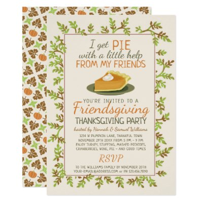 thanksgiving pie dinner party invitation zazzle com