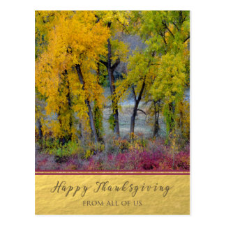 Thanksgiving From All of Us Autumn Trees Postcard