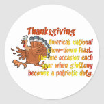 Thanksgiving Fun Classic Round Sticker