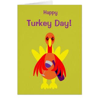 Thanksgiving Funny Wine Drinking Turkey Card