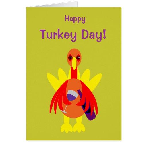 Thanksgiving Drinking: Thanksgiving Funny Wine Drinking Turkey Card