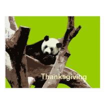 Thanksgiving giant panda postcard