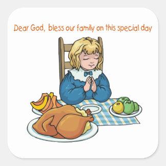 Thanksgiving girl saying prayer stickers