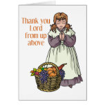 Thanksgiving girl thanking Lord for food Cards
