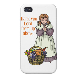Thanksgiving girl thanking Lord for food iPhone 4 Cases