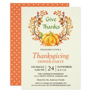 Thanksgiving Give Thanks Autumn Leaves Pumpkin Card