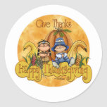 Thanksgiving - Give Thanks Classic Round Sticker