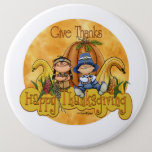 Thanksgiving - Give Thanks Pinback Button