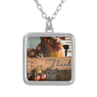Thanksgiving Give Thanks Silver Plated Necklace