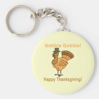 Thanksgiving: Gobble Gobble Basic Round Button Keychain