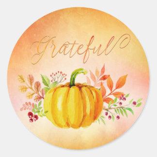 "Thanksgiving ""Grateful"" Watercolors Classic Round Sticker"