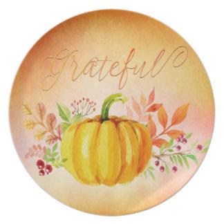 "Thanksgiving ""Grateful"" Watercolors Dinner Plate"