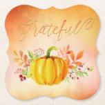 "Thanksgiving &quot;Grateful&quot; Watercolors Paper Coaster<br><div class=""desc"">Thanksgiving &quot;Grateful&quot; Watercolors Paper Coasters</div>"