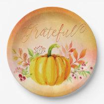 "Thanksgiving ""Grateful"" Watercolors Paper Plate"