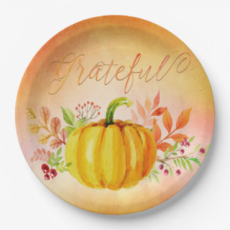 "Thanksgiving ""Grateful"" Watercolors Paper Plate"