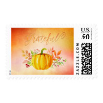 "Thanksgiving ""Grateful"" Watercolors Postage"