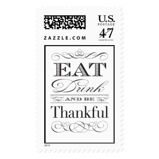 Thanksgiving Gratitude Eat Drink and be Thankful Postage