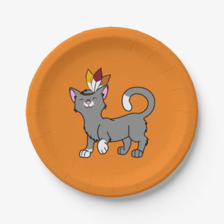 Thanksgiving Gray Cat with Indian Headdress 7 Inch Paper Plate