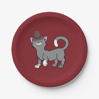 Thanksgiving Gray Cat with Pilgrim Hat 7 Inch Paper Plate