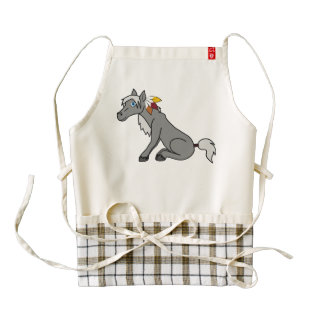 Thanksgiving Gray Horse with Turkey Feathers Zazzle HEART Apron