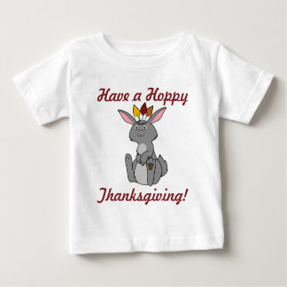 Thanksgiving Gray Rabbit with Indian Headdress Baby T-Shirt