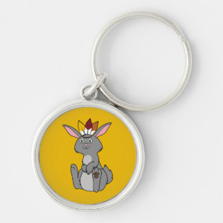 Thanksgiving Gray Rabbit with Indian Headdress Keychain