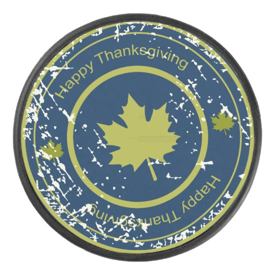 Thanksgiving Green  Maple Leaf, Ice Hockey Puck