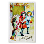 Thanksgiving greeting with a boy and a girl with t print