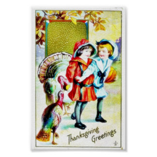 Thanksgiving greeting with a boy and a girl with t poster