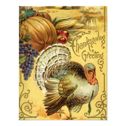 Thanksgiving Greeting with a Turkey Personalized Invites