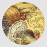 Thanksgiving Greeting with a Turkey Classic Round Sticker