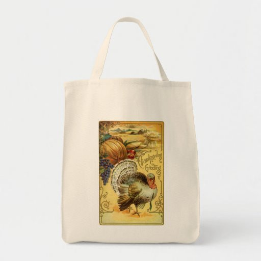 Thanksgiving Greeting with a Turkey Tote Bags