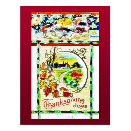 Thanksgiving greeting with scenary postcards