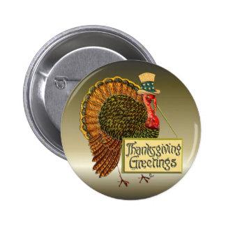 Thanksgiving Greetings Pinback Button