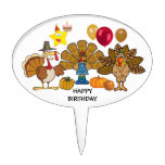thanksgiving happy birthday oval cake pick