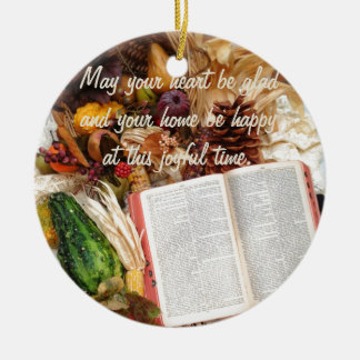 Thanksgiving Harvest and Bible Ceramic Ornament
