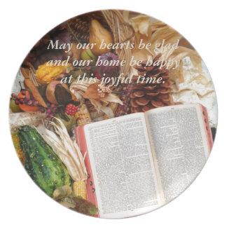 Thanksgiving Harvest and Bible Plate