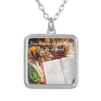 Thanksgiving Harvest and Bible Silver Plated Necklace