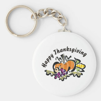 Thanksgiving Harvest Basic Round Button Keychain