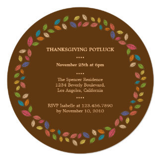Thanksgiving Harvest Leaves Potluck Party 5.25x5.25 Square Paper Invitation Card
