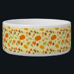"""Thanksgiving Harvest Pattern Bowl<br><div class=""""desc"""">Thanksgiving Harvest Pattern with pilgrim hats,  pumpkins,  acorns,  chestnuts,  wheat,  pears,  apples and fall leaves. A fun festive Thanksgiving pattern in fall colors of yellow,  tan,  orange,  and green.</div>"""