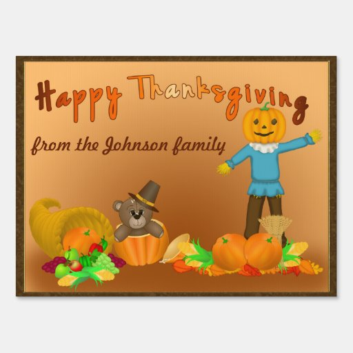 Thanksgiving Harvest - Scarecrow and Pilgrim Teddy Sign
